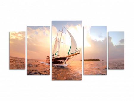 Tablou modular, Navă albă pe mare la apus