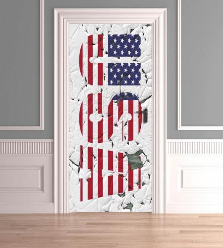 Stickere 3D pentru uși, USA, 1 foaie de 80 x 200 cm