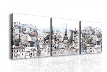 Tablou modular, Parisul în culori reci