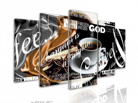 Multicanvas, Cafea cu inscripții pe un fond negru