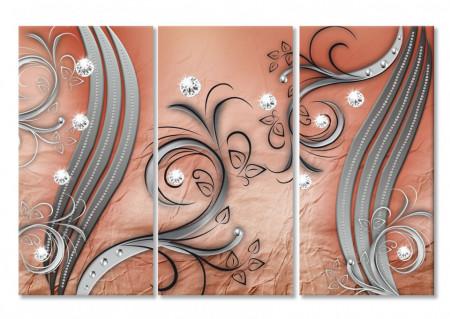 Multicanvas, Desene beige pe un fundal maro.