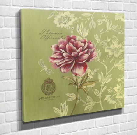 Tablouri Canvas, Natura Moartă cu floare pe un fond verde