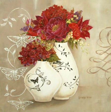 Poster, Flori roșii într-o vază albastră