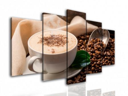 Tablou modular, Ceașca de cappuccino și boabe de cafea