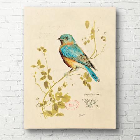 Tablouri Canvas, Pasărea albastră pe o ramură
