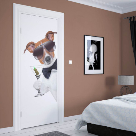 Stickere 3D pentru uși, Câine fericit, 1 foaie de 80 x 200 cm