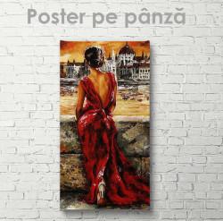 Poster, Domnișoara misterioasă în rochie roșie