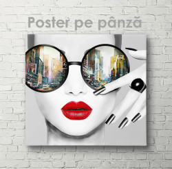 Poster, Fata cu ochelari glamour