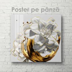Poster, Floare albă cu aur lichid