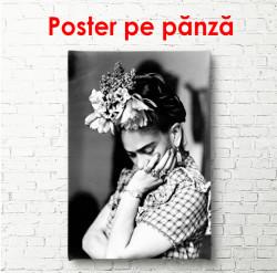 Poster, Frida Kahlo - portret alb-negru
