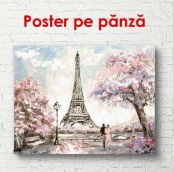 Poster, Parisul frumos cu vedere la Turnul Eiffel la răsărit