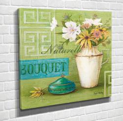 Poster, Vaza albă cu flori albe pe un fundal verde