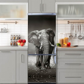 Stickere 3D pentru uși, Elefantul alb-negru, 1 foaie de 80 x 200 cm