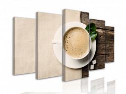 Tablou modular, Ceașcă cu cappuccino pe un fundal de lemn