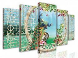 Tablou modular, Păuni multicolori pe un fundal frumos de peisaj