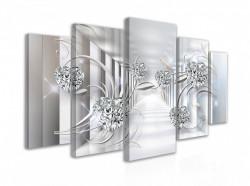 Tablou modular, Pietre prețioase pe un fundal de culoar alb tridimensional