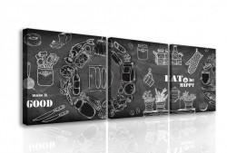 Tablou modular, Tablă neagră cu inscripții albe.