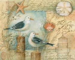 Tablouri Canvas, Pescăruși pe fundalul hărții