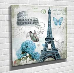 Tablouri Canvas, Turnul Eiffel cu fluturi albaștri