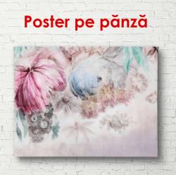Poster, Bujori delicați pe fundal gri.