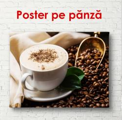 Poster, Cappuccino pe o masă cu boabe de cafea