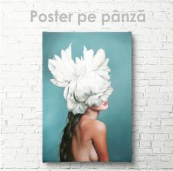 Poster, Fată - cu o floare albă