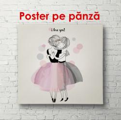 Poster, Fete desenate în fuste pe un fundal negru