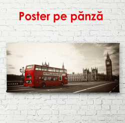 Poster, Fotografia retro a unui autobuz roșu din Londra