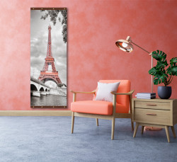 Roll-up, Turnul Eiffel pe un fundal alb-negru