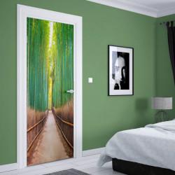 Stickere 3D pentru uși, Pădurea cu bambus, 1 foaie de 80 x 200 cm
