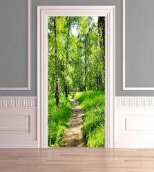 Stickere 3D pentru uși, Pădurea verde , 1 foaie de 80 x 200 cm