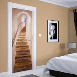 Stickere 3D pentru uși, Un tunel cu scări, 1 foaie de 80 x 200 cm