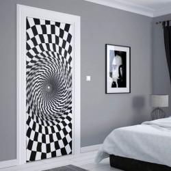 Stickere 3D pentru uși, Vârtej alb-negru, 1 foaie de 80 x 200 cm