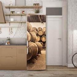 Stickerele decorative, pentru uși, Butoaie din lemn, 1 foaie de 80 x 200 cm
