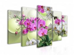 Tablou modular, Buchet de orhidee pe fundal verde