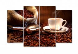 Tablou modular, Ceașca de cafea albă cu boabe de cafea