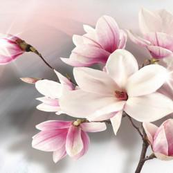 Tablou modular, Flori delicate pe fundal roz.