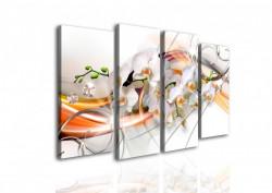 Tablou modular, Orhidee albă și desene portocalii.