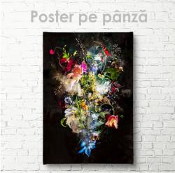 Poster, Buchet abstract pe fond negru