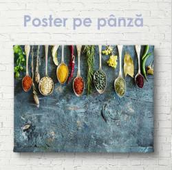 Poster, Condimente și ierburi pe tablă albastru-gri
