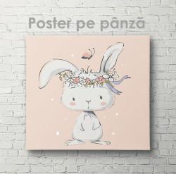 Poster, Iepuraș cu o coroană de flori pe cap
