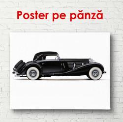 Poster, Mercedes retro negru pe un fond alb