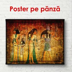 Poster, Picturi retro cu egiptenii pe un fundal de perete