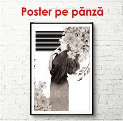 Poster, Profilul unei fete pe un fundal alb