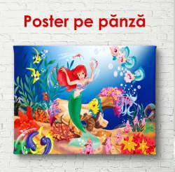 Poster, Sirena mică cu pește în fundull oceanului