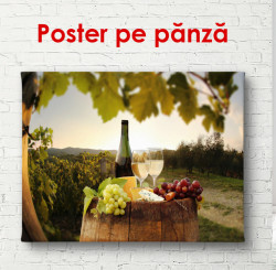 Poster, Sticlă de vin cu brânză pe butoaie