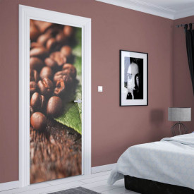 Stickere 3D pentru uși, Boabe de cafea naturală, 1 foaie de 80 x 200 cm