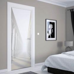 Stickere 3D pentru uși, Holul alb cu coloane, 1 foaie de 80 x 200 cm
