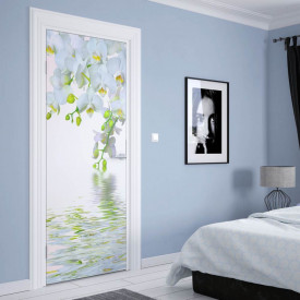 Stickere 3D pentru uși, Orhidee albe lângă apă, 1 foaie de 80 x 200 cm