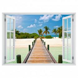 Stickere pentru pereți, Fereastra cu vedere spre o plajă cu palmieri în razele soarelui